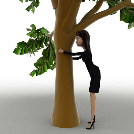 woman behind: 3d woman hiding behind truck of tree concept on white bakcground, side angle view Stock Photo