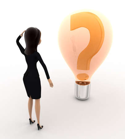 while: 3d woman looks confused while looking at question mark on bulb concept on white bakcground, back angle view
