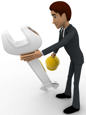 mechanical engineer: 3d man mechanical engineer with hat and wrench concept on white background, side angle view
