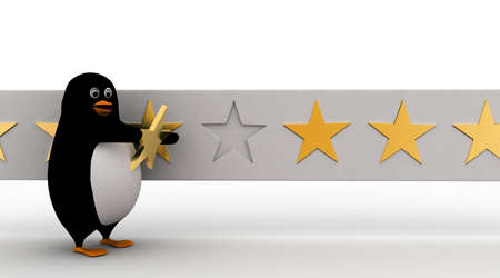 star rating: 3d penguin giving star rating to it concept on white background, front angle view