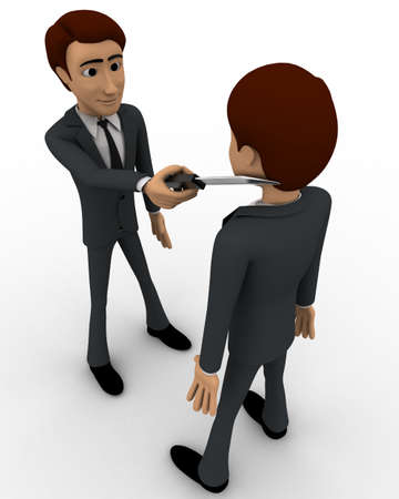 mans: 3d man put knife on another mans neck concept on white background, top angle view