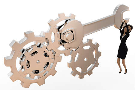 tightening: 3d woman tightening nut and gears using mechanical wrench concept on white bakcground, top angle view