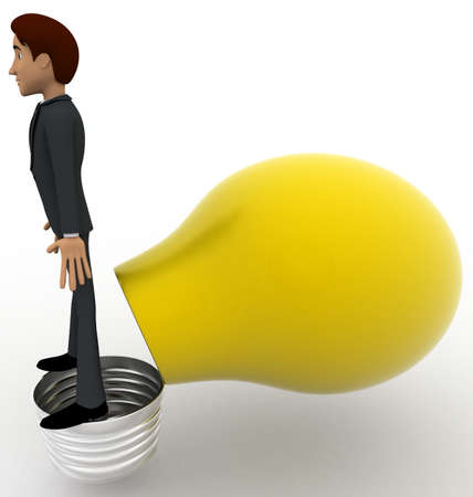 yellow bulb: 3d man opening yellow bulb and standing on bulb concept on white background,  side angle view