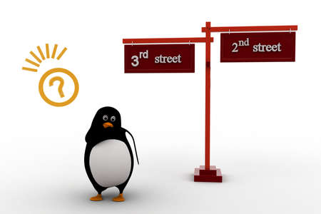 3rd: 3d penguin 2nd and 3rd street sign board on road concept on white background, front angle view