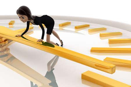 palanca: Mujer 3d que empuja la palanca del concepto de reloj en el fondo blanco, ángulo de vista lateral