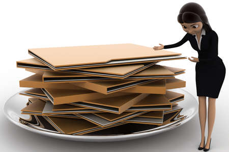 file folders: 3d woman present file folders in dish concept on white bakcground, side angle view Stock Photo