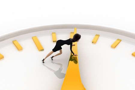palanca: Mujer 3d que empuja la palanca del concepto de reloj en el fondo blanco, ángulo de vista superior Foto de archivo