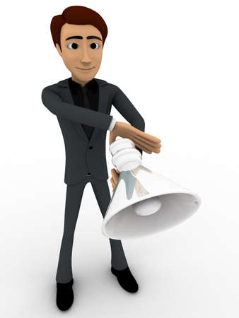 to announce: 3d man with speaker to announce concept on white background, front angle view Stock Photo