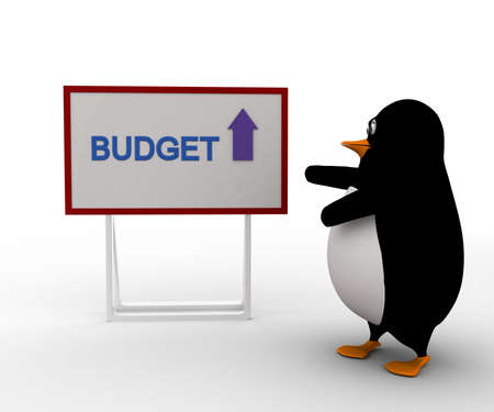 upside: 3d penguin with budget board and upside arrow concept on white background, front angle view
