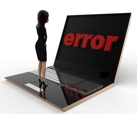 laptop screen: 3d woman found error on laptop screen concept on white bakcground, side angle view Stock Photo