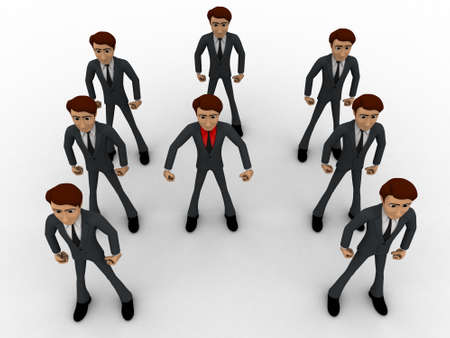 him: 3d man with his bodyguard around him concept on white background, top angle view