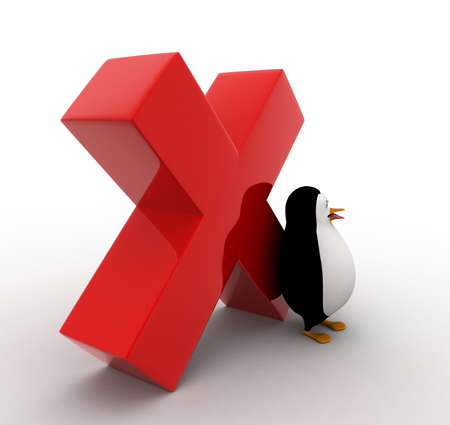 red cross red bird: 3d penguin and red cross sign concept on white isolated background , side  angle view Stock Photo