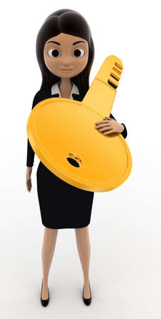 carry on: 3d woman carry big golden key on shoulder concept on white bakcground, front angle view