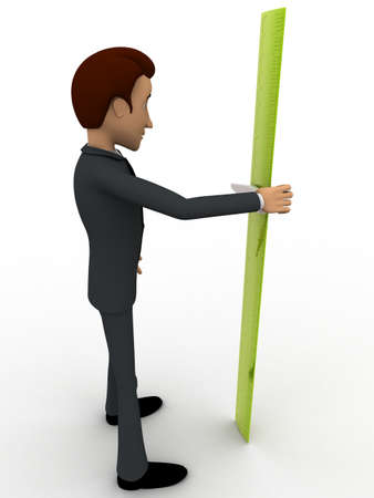 height: 3d man with green measure tape to measure height concept on white background,  side angle view