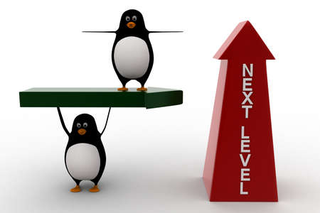 upside: 3d penguin standing on arrow and with upside next level arrow concept on white background, front angle view Stock Photo
