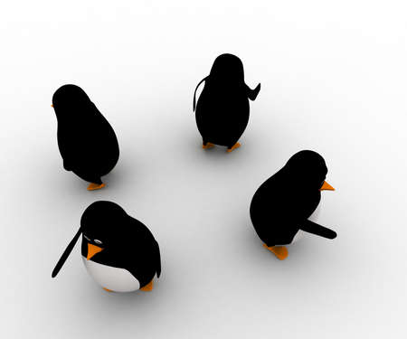 different directions: 3d penguins standing in four direction and pointing in foru different directions concept on white background, top angle view