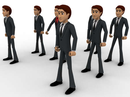 bodyguard: 3d man with his bodyguard around him concept on white background, side angle view Stock Photo