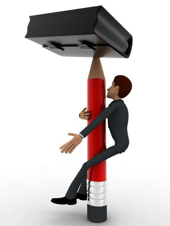 pick: 3d man climbing pencil like tree to pick briefcase concept on white background, side angle view Stock Photo