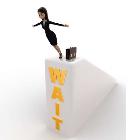 wait: 3d woman jumping from wait wall concept on white background, side angle view