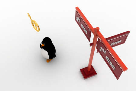 3rd: 3d penguin 2nd and 3rd street sign board on road concept on white background, top angle view