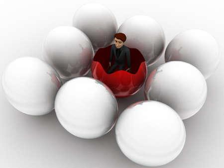 broken egg: 3d man inside broken egg concept on white background, left side angle view Stock Photo