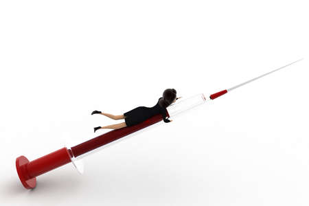 right side: 3d woman riding injection concept on white background, right side angle view Stock Photo