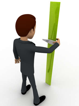 measure height: 3d man with green measure tape to measure height concept on white background, back angle view