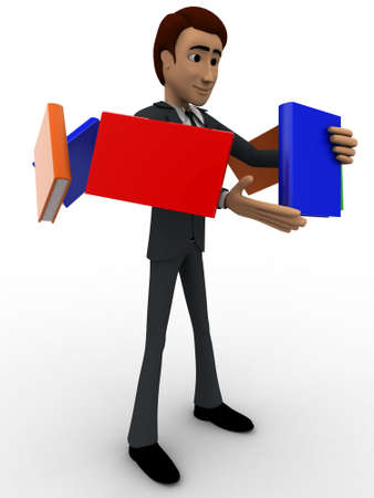 flying man: 3d man with flying books around him concept on white background, side angle view