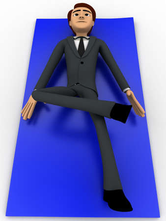 white carpet: 3d man doing yoga on blue carpet concept on white background, front angle view