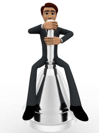 metalic: 3d man sitting on big metalic bell concept on white background, front angle view