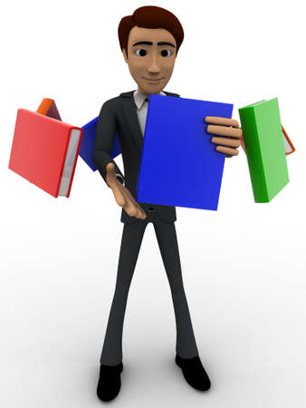 man flying: 3d man with flying books around him concept on white background, front angle view