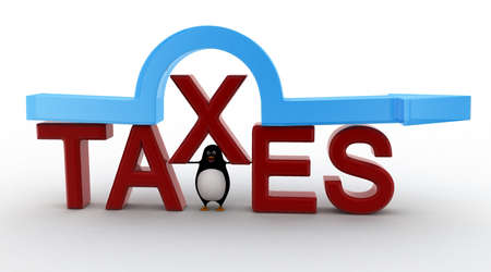 under view: 3d penguin standing under taxes text and arrow concept on white background, front angle view Stock Photo