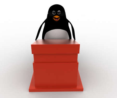 wears: 3d penguin giving speech and wears spectacles concept on white background, front angle view
