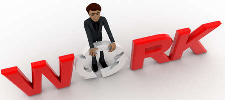 top angle view: 3d man holding O of work text concept on white background,  top angle view