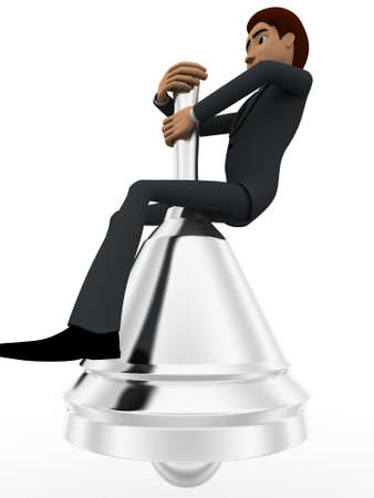 metalic background: 3d man sitting on big metalic bell concept on white background, side  angle view