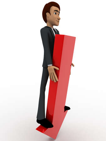 falling man: 3d man standing on falling graph arrow concept on white background, side angle view Stock Photo