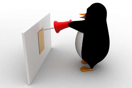 attaching: 3d penguin attaching note using pin on board concept on white background, side angle view