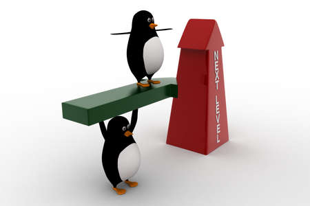 upside: 3d penguin standing on arrow and with upside next level arrow concept on white background, side angle view