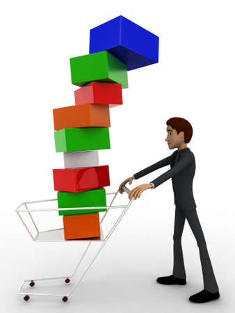 under view: 3d man under falling cubes from cart concept on white background, side angle view