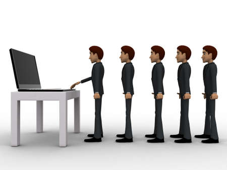queue: 3d man in queue and working on laptop concept on white background, side angle view Stock Photo