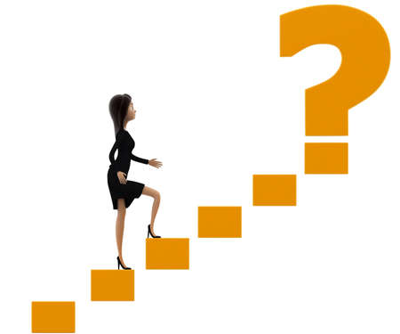 woman walk: 3d woman walking on stairs toward golden question mark concept on white background, front angle view