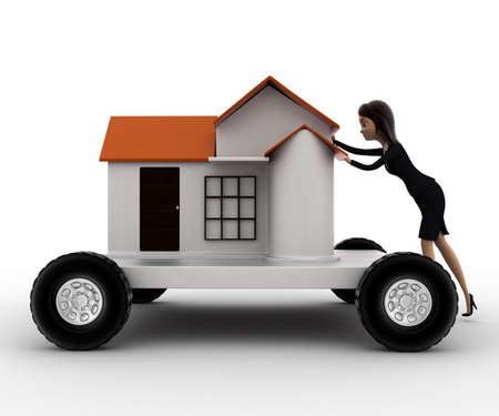 handtruck: 3d woman draw home on handtruck concept on white background, front angle view