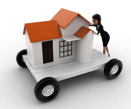 handtruck: 3d woman draw home on handtruck concept on white background, side  angle view Stock Photo