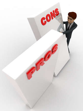 cons: 3d man with prons and cons sign board concept on white background, top angle view