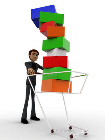 under view: 3d man under falling cubes from cart concept on white background, front angle view