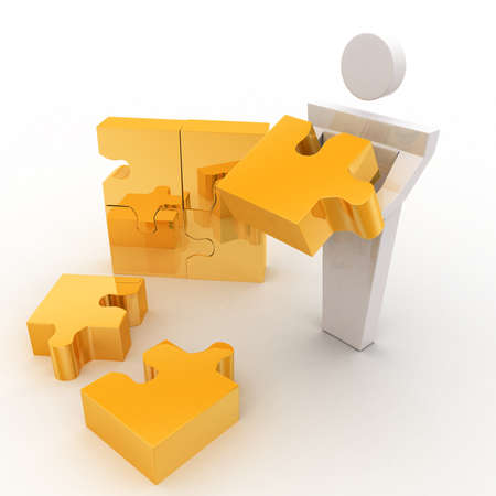 solve: 3d man can not solve golden jigsaw puzzle concept on white background top  angle view
