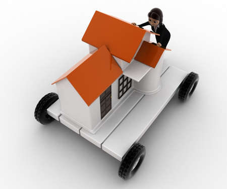 handtruck: 3d woman draw home on handtruck concept on white background, top angle view Stock Photo