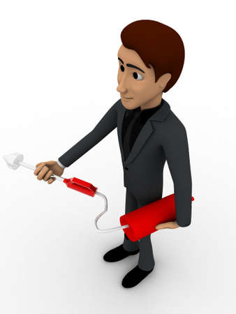 extinguish: 3d man with fire extinguish concept on white background,  top  angle view