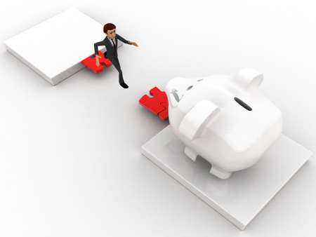 gap: 3d man jumping and crossing gap to reach to big piggybank concept on white background, side angle view