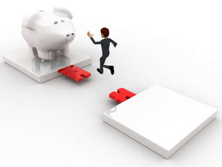 gap: 3d man jumping and crossing gap to reach to big piggybank concept on white background, top angle view Stock Photo